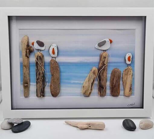 Cornwall Pebble Art Seagulls