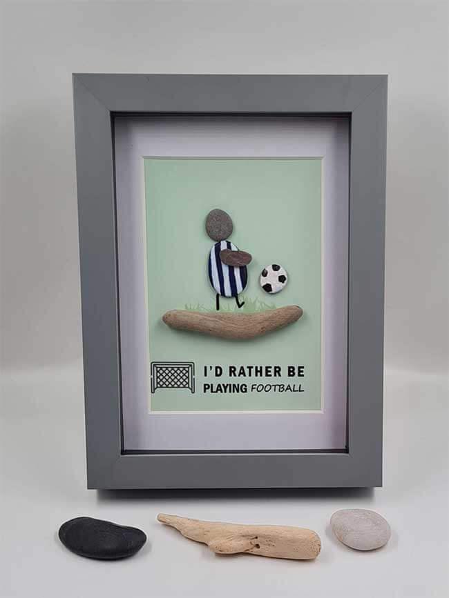 Pebble Art Footballer